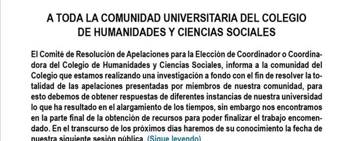 Comunicado del Comité de Resolución de Apelaciones para la Elección de Coordinador(a) del CHyCS
